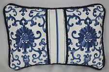 Ralph Lauren Porcelain Navy Blue Rosette & Stripe Fabric Custom Pillow 10x7 NEW