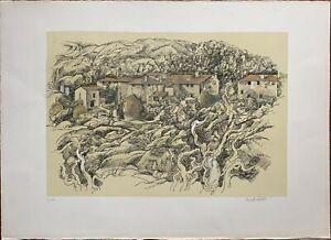 Antony De Witt litografia 1964 Paese Toscano  65x46 firmata numerata