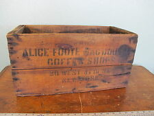 Antique Alice Foote Macdougall Wooden Coffee Shops Box Crate NYC 20 West 47th St