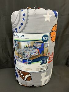 Sports Football Soccer Bed In Bag Twin 5 Piece Bedding Set Comforter Sham Sheets