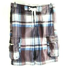 Abercrombie & Fitch Mens Swim Board Shorts Brown Plaid Flap Pockets Drawstring L