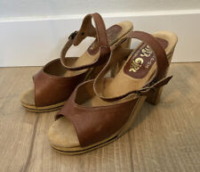"""Vintage 1970's """"Cover Girl� Ladies Heels Shoes Size 8 Brown Leather & Wood"""
