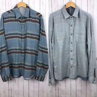 Faherty Mens Blue Striped Reversible Flannel Outdoors Long Sleeve Shirt Large