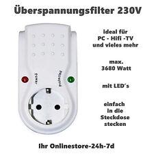 Überspannungsfilter Überspannungsschutz Steckdose Kontrolllampe 230 V 16 A weiss