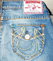 HOT Men TRUE RELIGION NATHAN GIANT BIG T STRAIGHT LEG Jeans 31 x 34 (Fit 32 x34)