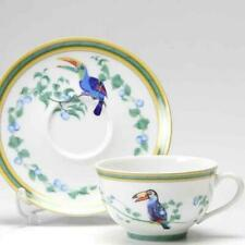 Hermes Porcelain Tea Cup Saucer Toucans Dinnerware 6 set Ornament Interior New