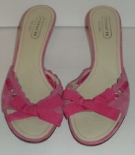 COACH Cyndi P467 Dark Pink Suede Scallop Ribbon Bow Kitten Heel Mules 8 B Italy