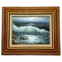 """Vintage 24"""" x 20"""" Framed Seascape Oil Painting on Canvas Artist Signed J. Walker"""