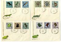 4 Sobres sellos Polonia 1963 reptiles y anfibios Polska Stamps