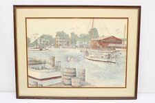 Martin Barry St Michaels Harbor Lithograph Maryland Signed Numbered Framed