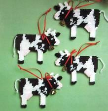 Mary Maxim Plastic Canvas Cow Christmas Ornament Kit #47457 Holstein Needlepoint