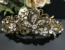ANtique Gold Tone  Rhinestone clear color metal Hair Clip Barrette 180117