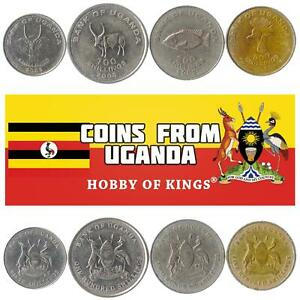 MONEY SET OF 4 COINS FROM UGANDA: 50, 100, 200, 500 SHILLINGS. 1988-2019