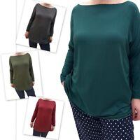 Wolfairy Women's Italian Top Blouse Kaftan Long Sleeve New Plus Size 16-24