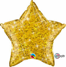 """Hollographic Gold Star Foil Balloon 20"""" Qualatex Party Helium"""