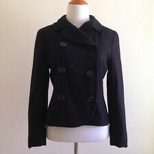 Vintage Pendleton Women Sz Petite 4 Pea Coat Wool Black Cropped Jacket S Small