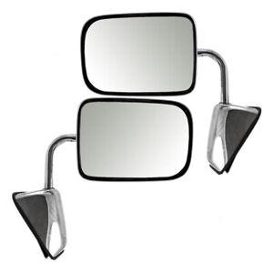 Pair Manual Mirrors for 88-93 Dodge Ram Ramcharger Chrome Set 55074999 55074998