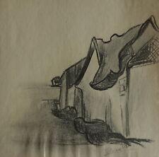 Post impressionist study, Landscape, charcoal drawing, signed Vincent van Gogh