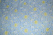 Cotton flannel fabric 3 pieces, 4+ yards total, baby print moon & stars