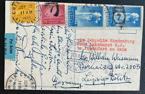 1936 Chicago IL USA LZ 129 Hindenburg Zeppelin Pc cover FFC To Leipzig Germany