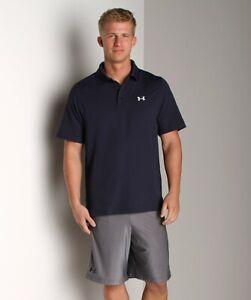 "Men UNDER ARMOUR ""Loose Heat Gear"" Performance Polo Shirt Medium, Midnight Navy"