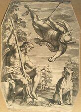 Rare Italian Engraving - Giovanni Battista Galestruzz A. Carracci -Mercury Paris