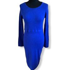 Jaeger Size S Wool Cashmere & Angora Blend Cobalt Blue Knitted Dress Bodycon