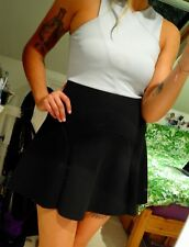 Black / Grey Topshop Mini Skater Dress Stretchy Material Back Zipper Size UK 10