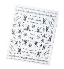Weihnachten Nagelsticker Silber. Hirsch, Schneeflocken selbstklebend, HC-17