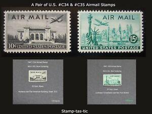 *(LT2) Pair of U.S #C34 & #C35  Airmail Stamps, MLH, OG, Circa 1947*