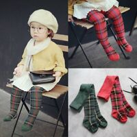 Cotton Baby Kids Girls Plaid Tights Socks Stockings Pants Hosiery Pantyhose