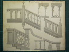 1858 CARPENTARY JOINERY ARCHITECTURE PRINT ~ BALUSTRADES VARIOUS EXAMPLES