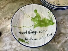 Large Pasta Bowls Set Of 4. Good Things Come To Those Who Bait. Blue, Green. New