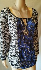 NEW! CITY CHIC 14 16 XS Top Black Blue Floral Peasant Blouse Mono Splice $79.95