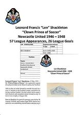 Len Shackleton Newcastle United 1946-1948 rare original hand signed Coupe/Carte