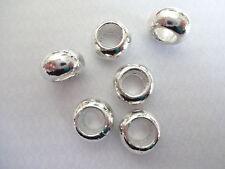 10x Bright Silver Plated TIBETAN Donut Charm Beads European Snake Bracelet 10mm