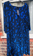 M&S BLUE PATTERNED 3/4 SLEEVED DRESS,  SIZE 26 R BNWT