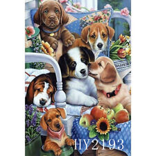 """12X18"""" Funny Dogs Familly Flowers Home Garden Flag Home Decor Yard Lawn Banner"""