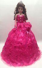 NEW Fuchsia Pink 28in Mis 15 XV Anos Quinceanera Porcelain Umbrella Muñeca Doll
