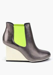 United Nude Solid Chelsea Leather Boots Pewter Silver Neon - Size 10 - RRP $560