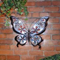 Solar Bright LED Light Metal Butterfly Garden Ornaments Decoration Wall Art