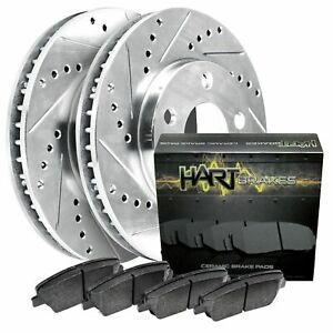 For 2012-2015 Honda Civic Hart Brakes Front Silver Zinc Cross Drilled Slotted