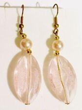 boucles d'oreilles percees bijou vintage ovale résine de qualité rose or * 4603