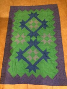 """Handmade Quilt Blues and Greens 43"""" x 64"""""""