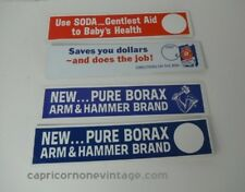 VINTAGE 1960s Arm & Hammer SHELF TALKER supermarket display signs Set of 4 Borax