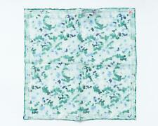 """Isaia $120 NWT Green Blue Abstract Print Pocket Square Cotton Linen 13"""" 33 cm"""