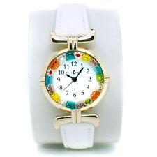 Murano Glass Watch White Strap With Gold Trim Millefiori Quartz Venice Art