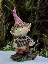 Miniature Dollhouse FAIRY GARDEN ~ Young PIXIE Boy Playing Pan Flute ~ NEW