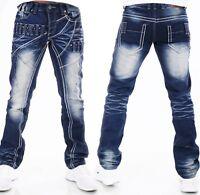 Highness Homme Pantalon Jeans Coupe Large ´S Wear Patchs Rivets Lavage HN-611