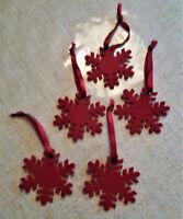 5 St. rote Filzsterne Filz Weihnachtssterne Christbaum Handarbeit Vintage